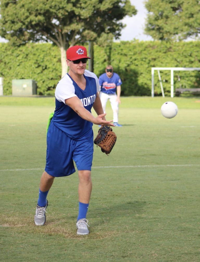 The pitcher for the Toronto Blind Jays releases the ball.