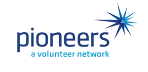 """A logo reads """"Pioneers"""" in large letters with smaller letters which read """"A volunteer network."""""""