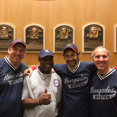 Darnell Booker with the Boston Renegades coaching staff at the National Baseball Hall of Fame in Cooperstown.
